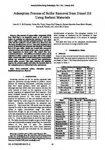 Adsorption Process of Sulfur Removal from Diesel Oil Using Sorbent ...