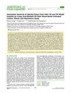 Adsorption removal of glycidyl esters from palm oil ... - ACS Publications
