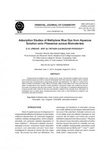 Adsorption Studies of Methylene Blue Dye from Aqueous Solution ...
