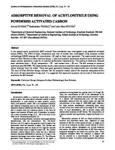 adsorptive removal of acrylonitrile using powdered ... - CiteSeerX