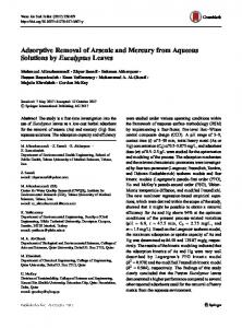 Adsorptive Removal of Arsenic and Mercury from Aqueous Solutions