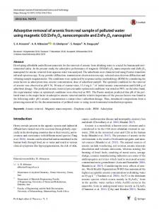 Adsorptive removal of arsenic from real sample of