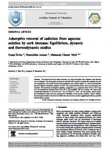 Adsorptive removal of cadmium from aqueous solution by cork biomass