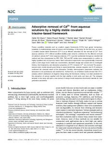 Adsorptive removal of Cd2+ from aqueous solutions ...