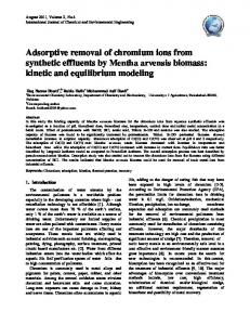 Adsorptive removal of chromium ions from synthetic ... - CiteSeerX