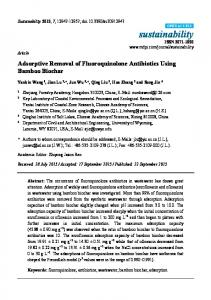 Adsorptive Removal of Fluoroquinolone Antibiotics