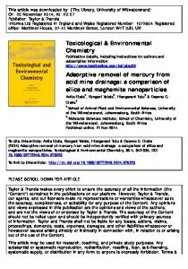 Adsorptive removal of mercury from acid mine drainage