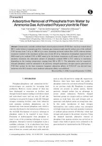 Adsorptive Removal of Phosphate from Water by Ammonia ... - J-Stage