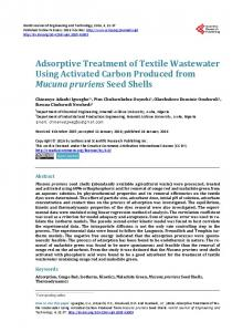 Adsorptive Treatment of Textile Wastewater Using ...