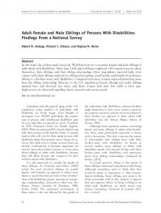 Adult Female and Male Siblings of Persons With Disabilities: Findings ...