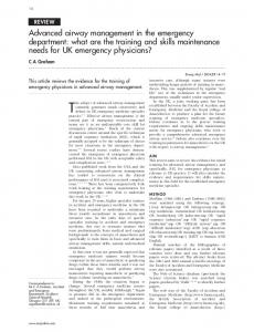 Advanced airway management in the emergency department: what ...