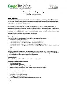 Advanced Android Programming Training Course ... - GogoTraining