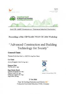 Advanced Construction and Building Technology for Society - IAARC