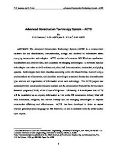 Advanced Construction Technology System---ACTS - Tishman ...