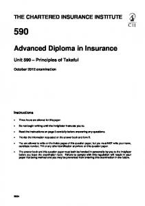 diploma in insurance the chartered insurance institute  advanced diploma in insurance the chartered insurance institute