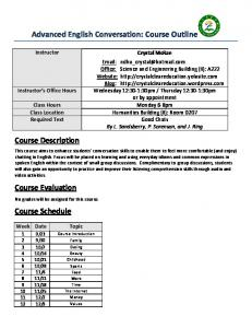Advanced English Conversation: Course Outline Course Description ...