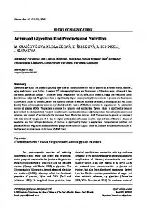 Advanced Glycation End Products and Nutrition - CiteSeerX
