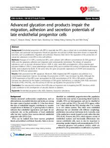 Advanced glycation end products impair the migration, adhesion and ...