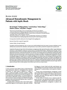 Advanced Hemodynamic Management in Patients with Septic Shock