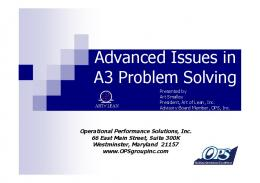 Advanced Issues in A3 Problem Solving - A3 Thinking