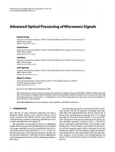 Advanced optical processing of microwave signals
