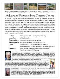 Advanced Permaculture Design Course Advanced Permaculture ...