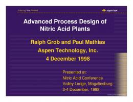 Advanced Process Design of Nitric Acid Plants