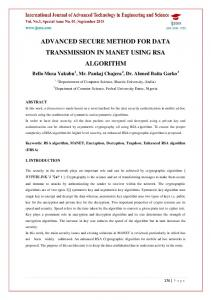 advanced secure method for data transmission in manet using rsa ...