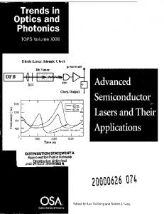 Advanced Semiconductor Lasers and Their