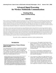 Advanced Signal Processing for Wireless Multimedia Communications