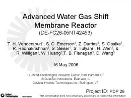 Advanced Water Gas Shift Membrane Reactor - DOE Hydrogen and
