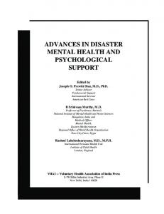 Advances in Disaster Mental Health and Psychological Support.indd