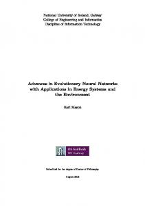 Advances in Evolutionary Neural Networks with