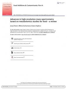 Advances in high-resolution mass spectrometry ...