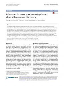 Advances in mass spectrometry-based clinical biomarker ... - Core