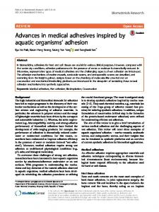 Advances in medical adhesives inspired by aquatic organisms' adhesion