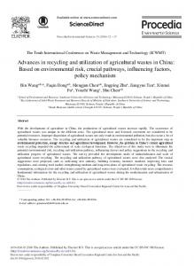 Advances in Recycling and Utilization of Agricultural Wastes in China ...