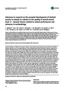 Advances in research on the prenatal development of skeletal muscle
