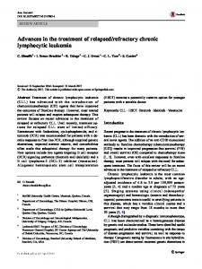 Advances in the treatment of relapsed/refractory chronic lymphocytic ...