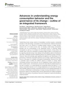Advances in understanding energy consumption behavior and the