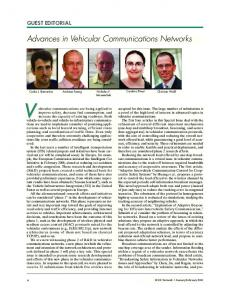 Advances in vehicular communications networks [Guest Editorial]