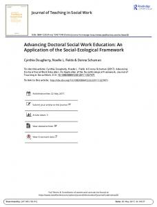 Advancing Doctoral Social Work Education: An