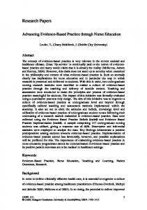 Advancing Evidence-Based Practice through Nurse Education