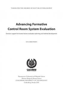 Advancing Formative Control Room System Evaluation