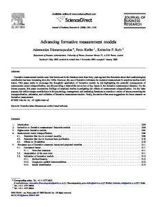 Advancing formative measurement models