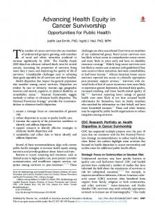 Advancing Health Equity in Cancer Survivorship