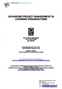 advancing project management in learning organizations - CiteSeerX
