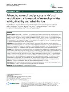 Advancing research and practice in HIV and rehabilitation - TSpace
