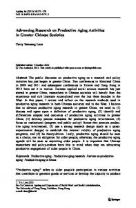 Advancing Research on Productive Aging Activities in ... - Springer Link