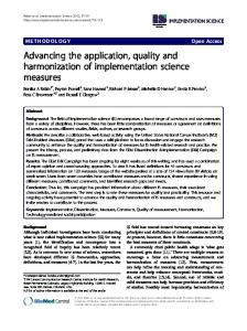Advancing the application, quality and harmonization of ...
